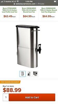 Ice Tea dispenser, 3 gallon side by side urn, grindmaster