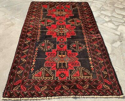 Authentic Hand Knotted Afghan Balouch Wool Area Rug 5 x 3 Ft (154 HM)