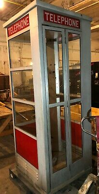 Vintage Outdoor Aluminum Telephone Phone Booth