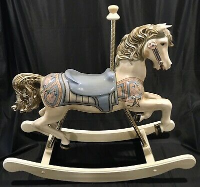 S & S Woodcarvers Vintage Carved Wood & Brass Carousel Rocking Horse