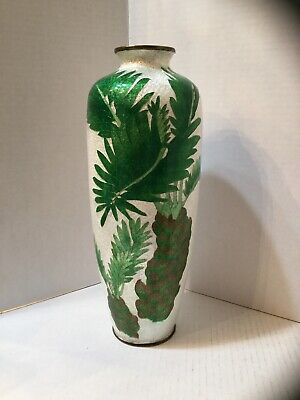 "Fine Ginbari Meiji 12 1/2"" Palm Tri-Color Cloisonné Vase Signed, Foil Background"