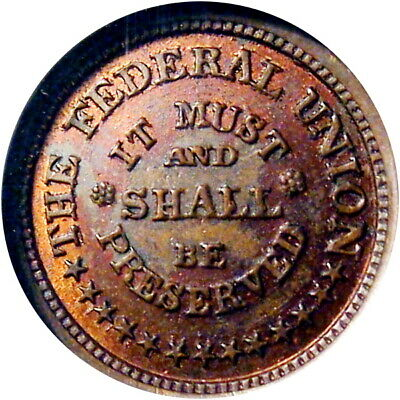 Army & Navy Union Must & Shall Be Preserved Patriotic Civil War Token NGC MS64