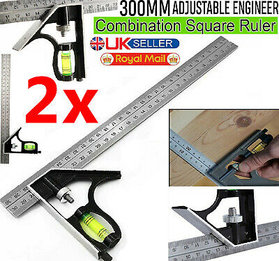 """2x 300mm (12"""") Adjustable Engineers Combination Try Square Set Right Angle Ruler"""
