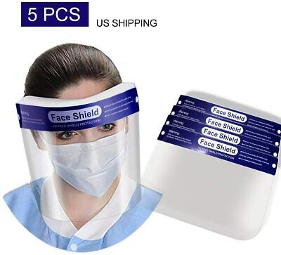 Safety Full Face Shield Reusable Washable Protection Cover Face Mask (5 PCS)