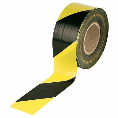 Barrier Hazard Warning Tape Non Adhesive Black&Yellow 500m Rolls Danger