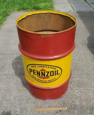 NICE Large Pennzoil Safe Lubrication Oil Steel Barrel Drum Can !