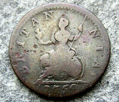 Great Britain George Ii 1754 Farthing, Us Colonial Coin, Copper