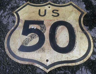 **VINTAGE RARE** CALIFORNIA US ROUTE HIGHWAY 50 USA ROAD SHIELD SIGN 1950s 60s!