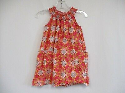 TEA COLLECTION Girls Coral Pink Floral Print Sleeveless 100% Cotton Dress Size 4