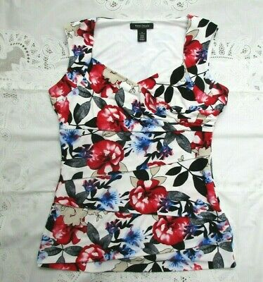 Beautiful WHITE HOUSE BLACK MARKET Ruched Floral Sleeveless Top - Size MEDIUM