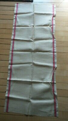 Antique Linen Kitchen Hand Towel RED & BLUE STRIPES ON SIDE Infinity