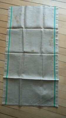 Antique Linen Kitchen Hand Towel GREEN, WHITE, YELLOW STRIPE SIDES Infinity