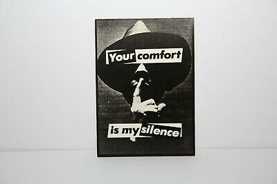 """Barbara Kruger """"Your Comfort Is My Silence"""" 1981 Postcard"""