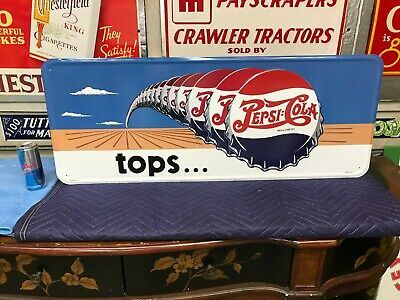 """""""PEPSI COLA"""" LARGE, EMBOSSED METAL ADVERTISING SIGN (36""""x 14"""") MINT CONDITION"""