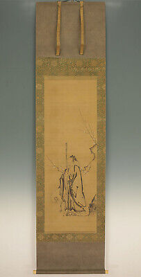 "掛軸1967 JAPANESE HANGING SCROLL : KANO TSUNENOBU ""Jurojin"" w/box  @f361"