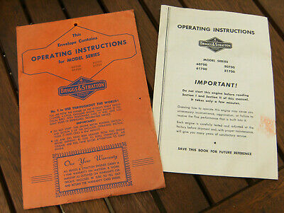 Vtg Briggs & Stratton Engine Operating Instructions 60700 61700 80700 81700