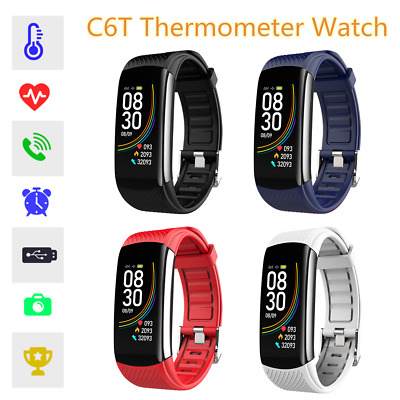 C6T Smartwatch Smart Orologio Temperatura Monitoraggio IP67 Bracciale Band H9F8
