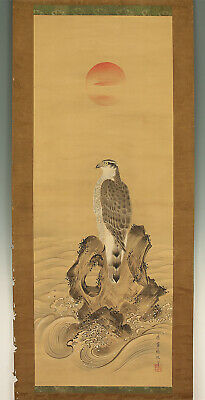 "掛軸1967 JAPANESE HANGING SCROLL ""Hawk on Rock""  @f368"