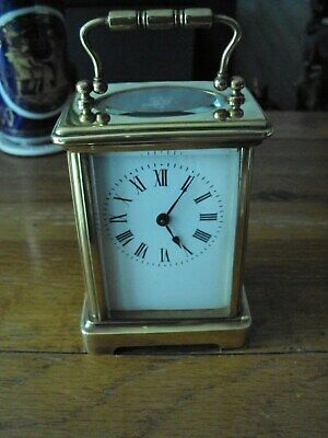 Circa 1900 French DH Brass Cased Bevelled Glass 8 Day Carriage Clock