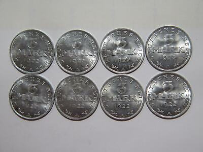 1922 A Germany 3 Mark Weimar Republic Eagle Km#29 Unc World Coin Lot (8) 🌈⭐🌈