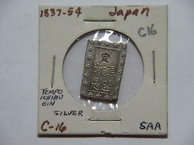 Japan 1859-1868 1 Bu Shogunate Tempo Ichibu Gin Silver Type World Coin 🌈⭐🌈