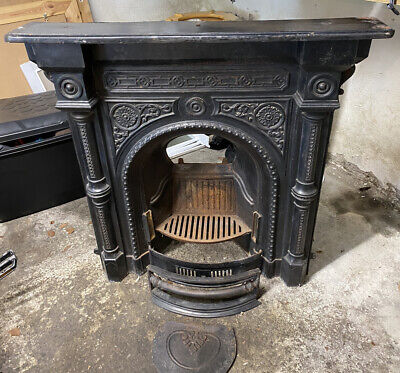 Beautiful Ornate Victorian Black Fire Surround Mantle And Entire Grate.