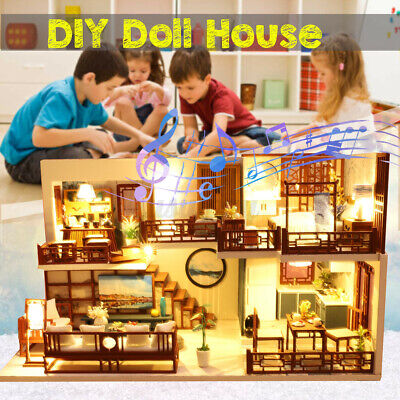 DIY Dollhouse Miniature Furniture Kit Wood Doll House Toy w/LED Light Kid Gift!