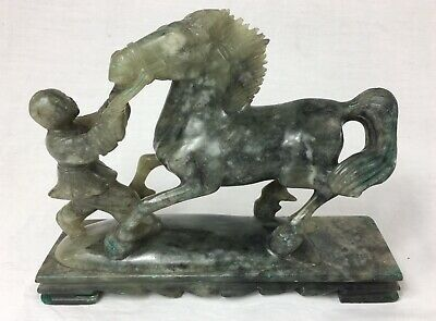 Jade  Jadeite Sculpture Of A Chinese  Pulling A Horse