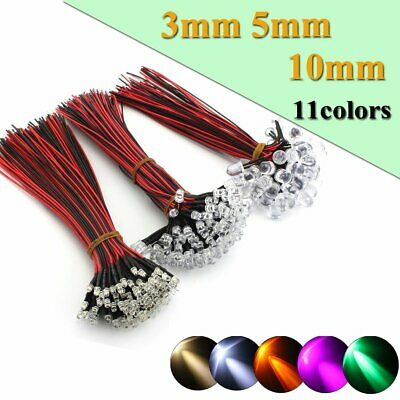 10/20/50/100pcs DC12V 3mm 5mm 10mm LED Pre wired Light Emitting Diodes Wire 20cm