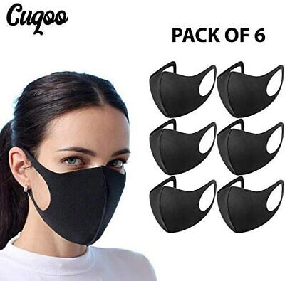 Reusable And Washable Face Mask Black Lycra or Spandex fabric ( 6 pack )