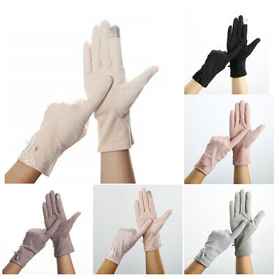 Women Bowknot Thin Lace Non-slip Sunscreen Touch Screen Gloves Fashion Driving