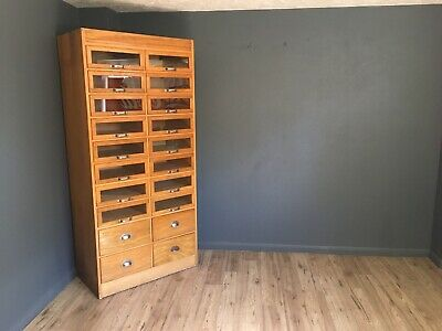 Vintage Oak Haberdashery Cabinet Shop Cabinet Drapery Chest Of Drawers