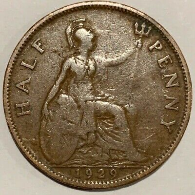 1929 Great Britain GB UK England One Half Penny Coin