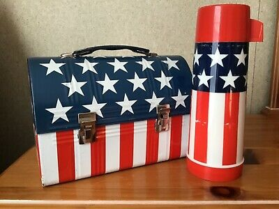 Vintage Stars And Stripes Lunchbox And Thermos