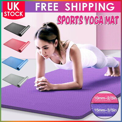 10mm 15mm Yoga Mat Pilates Gym Non-Slip Thick Soft Mats Exercise Fitness Durable