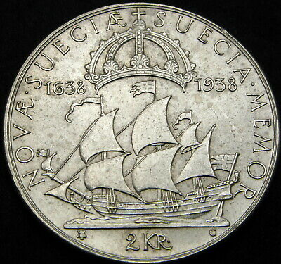 SWEDEN 2 Kronor 1938G - Silver - Settlement of New Sweden - XF - 1154 ¤
