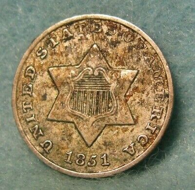 1851 Three Cent Silver Better Grade Details * United States Coin