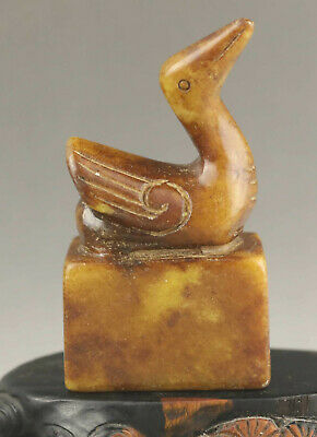 Old Chinese natural jade hand-carved statue of phoenix seal