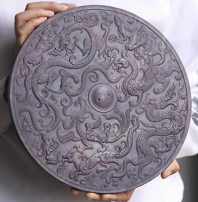 Old Chinese natural jade hand-carved statue of double dragon plate Bi 26cm