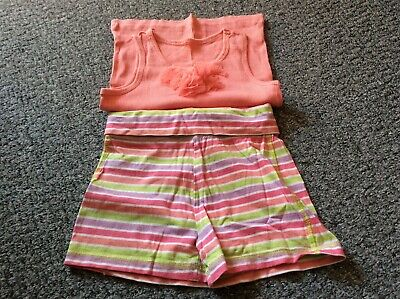 girls sleeveless coral pink orange top & stripey shorts cotton age 6 set outfit