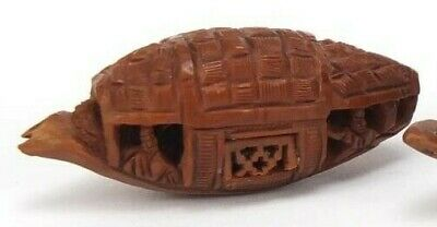Vintage Chinese Finely Carved Coquilla Nut Boat. (a)
