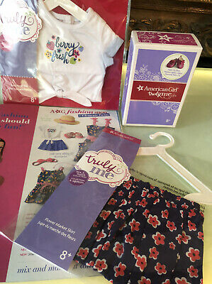 American Girl Truly Me Mix & Match Berry Fresh Tee, Flower Market Skirt, Shoes N
