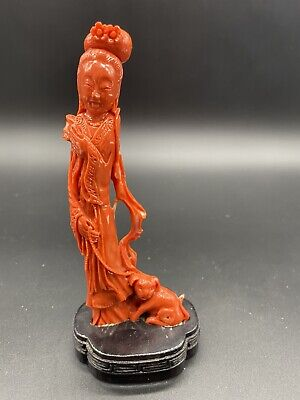 Asian Carved Coral Woman Figure