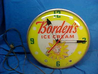 1950s BORDENS ICE CREAM Illuminated ADVERTISING WALL CLOCK by PAM Works