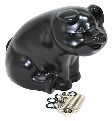 "GG Hood Ornament Sitting Pig Matte Black with Base Pad 3 Studs 4"" tall #48204"