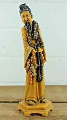 Vintage Chinese Oriental Resin Figure - Traditional Fisherman c1940s, Signed