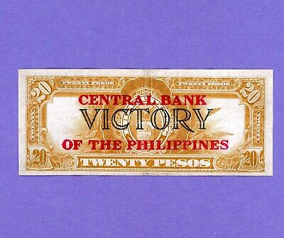 WW11 PHILIPPINES 20 PESOS CENTRAL BANK VICTORY OVPT F11632354 P-121a MID GRADE