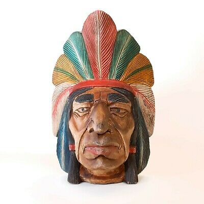 """Hand Carved Solid Wood Indian Head - Native American Head - 13"""" High"""
