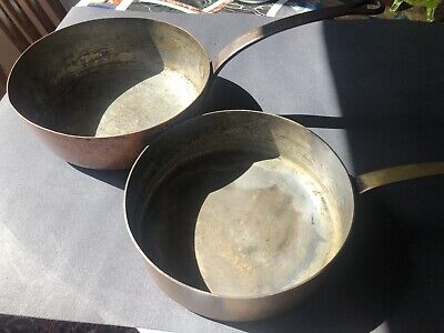 One French Round Pan Copper Metal Handles One NY Copper Brass Handle