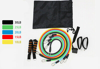 11 Pcs/Set Latex Resistance Bands, Crossfit Training,Yoga Exercise, bag included